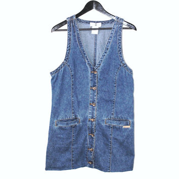 90s button up DENIM dress early 1990s Cotton Ginny upcycled jean jumper medium