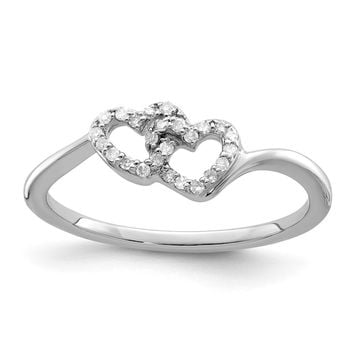 925 Sterling Silver Rhodium Plated Diamond Double Heart Promise Ring