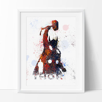 Thor Art Print, SuperHero Art, SuperHero Print, Thor Watercolor Print, Birthday, Nursery Gift Art Print Kids Comic Poster (41)