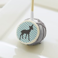 Cute deer fawn baby gender reveal chevron geometri cake pops
