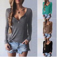 V Neck Long Sleeve Knitted Thin Sweater