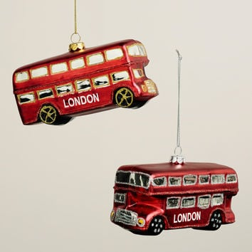 Glass London Bus Ornaments, Set of 2 - World Market