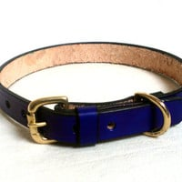 """Leather dog collar, 3/4"""" wide, large, brass buckle & D ring, comes  in 15 colors including brown, blue, red"""