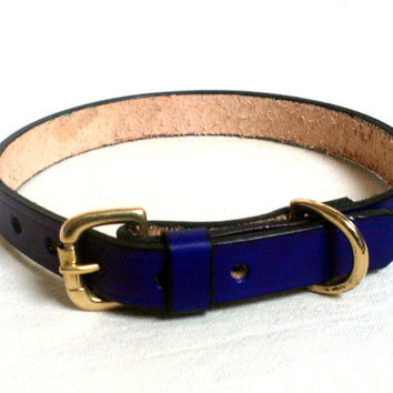 "Leather dog collar, 3/4"" wide, large, brass buckle & D ring, comes  in 15 colors including brown, blue, red"