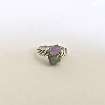 Vintage Sterling Wrap Ring with Violet and Green Cabochons in Twisted Silver Setting  - Approximate Size 8