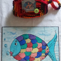 Rainbow fish 12 piece puzzle and purse set, child's toy, hand drawn art puzzle, educational puzzle, toy, game