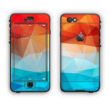 The Vector Abstract Shaped Blue-Orange Overlay Apple iPhone 6 LifeProof Nuud Case Skin Set