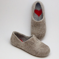 Felted Warmest Love Clogs soft merino wool beige by WoolenClogs