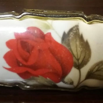 Vintage Lipstick Holder with Mirror..Red Rose on Porcelien..Gold Tone Metal