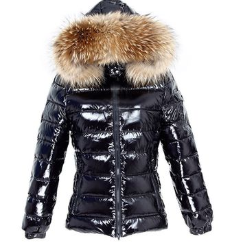 Women's puffer jacket with fox fur hood women overcoat trimmed with fur winter coats