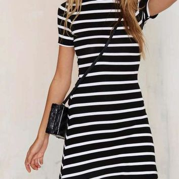 Striped Mock Turtleneck Short Sleeve Mini Dress