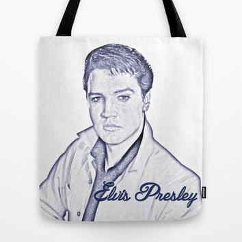 Elvis Presley 60s, , the king of music, rock 'n' roll. Pencil art sketch. Icon art work.  Tote Bag by PatternWorld
