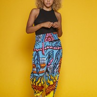 'Tillora' Bold Print High Waisted Trousers in Electric Blue