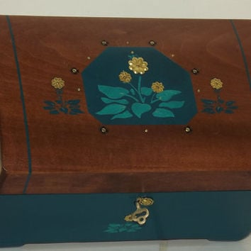 Lock box. LARGER CHEST With FREE Pendant. Emerald Green, Gold and Rosewood treasure. Bottle Green. Can be personalised. Affirmation box