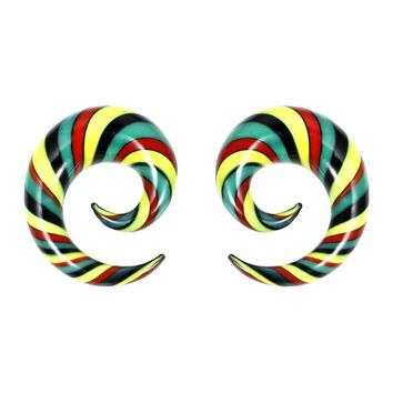 BodyJ4You Glass Spiral Multicolor Rasta Curved Ear Gauge 6G-14mm Piercing Jewelry