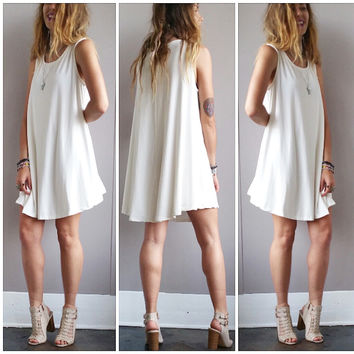A Potato Sack Dress in Ivory