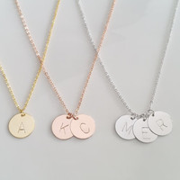 Delicate Disc Initial Necklace, Rose Gold Letter Necklace, Gold Necklace, Bridesmaid Gift, Dainty Monogram Charm, Christmas Gift