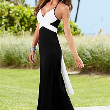 Black & White Color block maxi dress, shoes from VENUS