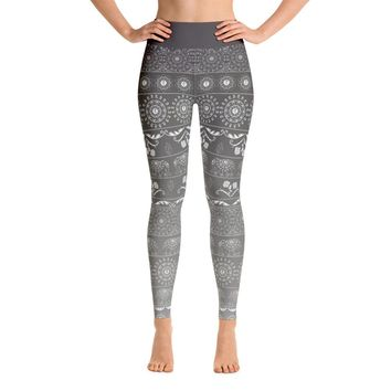 Elephant Mandala in Grey Yoga Leggings