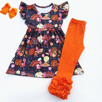 Fall/Winter Baby girls Thanksgiving Brown Pink Turkey Flower Pearl Outfits Children Thanksgiving Boutique Ruffle Set Match Bow
