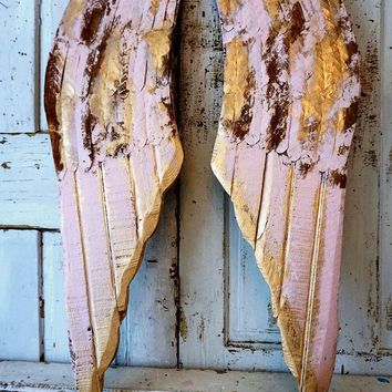 Pink distressed angel wings rusted accented in gold wall hanging home decor