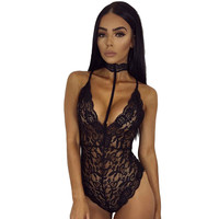 Hot Sale choker black sexy lace bodysuit 2017 spring sleeveless catsuit fitness sleepwear rompers womens jumpsuit one piece lace