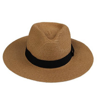 JTC Beach Straw Sun Hat Cap Panama Visor Wide Brimmed Folding Prop outfit 3color (Coffee)