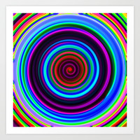 Neon Retro Spiral Circle Pattern Art Print by Hippy Gift Shop