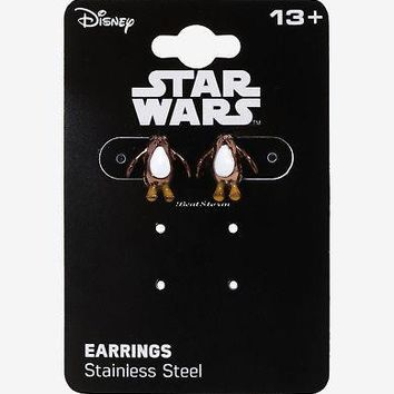 Licensed cool Star Wars The Last Jedi Dainty PORG Earrings Stud Post Insertion 1/2x1/2 Disney