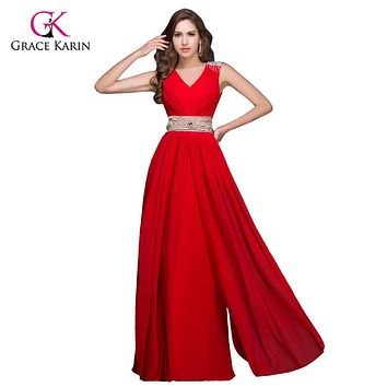 Grace Karin Bridesmaid Dresses Long Vestido Madrinha Floor Length Wedding Party Dresses Turquoise Grey Red Bridesmaid Dress 3403