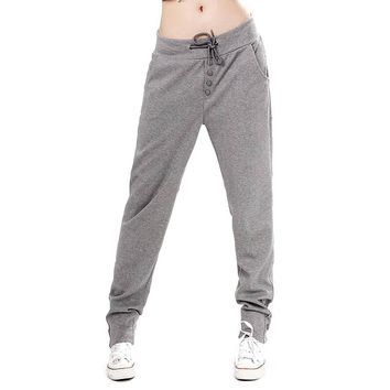 SYB-Straight Casual Hip-Hop Pants Women's Harem Pants Fleece Sweatpants gray
