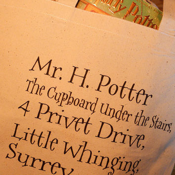 Harry Potter tote bag, 4 privet drive, Harry potter, hogwarts, hogwarts letter
