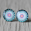 Fake Plugs : Teal, Pink and Black Scalloped Stud Earrings, Fake Plugs, Cabochon, Floral, Round, ArtisanTree
