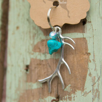 Elk Antler Key Chain Turquoise / Antler Key Ring