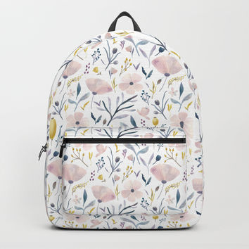 Delicate Pastel Flowers Backpack by noondaydesign
