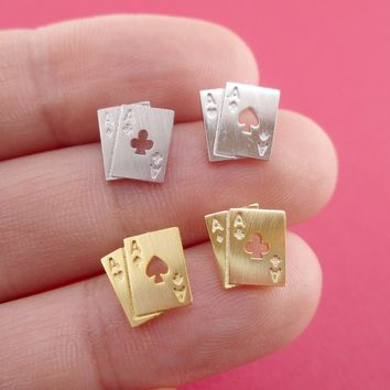 Ace of Spades and Clubs Poker Playing Cards Shaped Stud Earrings in Silver or Gold