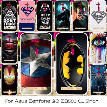 TAOYUNXI Silicone Plastic Mobile Phone Case For ASUS ZenFone Go ZB500KL ZB500KG 5.0 inch Captain American  Cover Skin Bag Shell