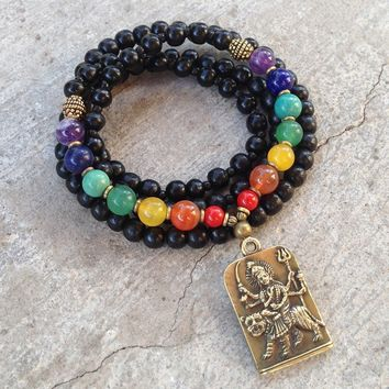 Chakra Mala Necklace or Wrap Bracelet with Durga Pendant