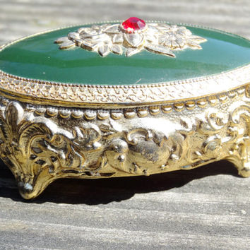 Vintage Jewelry Box with Green Enamel and Red Jewel 1960s / 1970s Small Sized Trinket Box