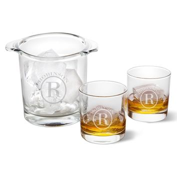 Ice Bucket with Two Lowball Glasses