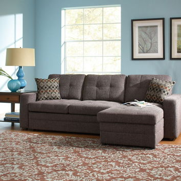 501677 2 pc gus collection charcoal black grey chenille fabric upholstered sectional sofa with convertible bed