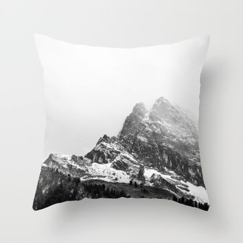 Black and White Snowy Mountain Throw Pillow by ARTPICS