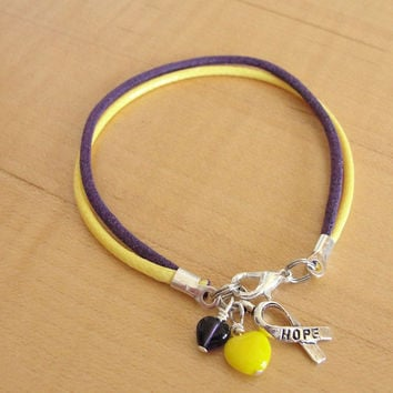 Purple and Yellow Awareness Bracelet - Cotton