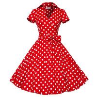 Summer New Ladies Polka Dot Short Sleeve Dress 50s 60s Women Retro Rockabilly Party Pinup Swing Vintage Dresses B627