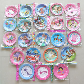 12pcs/lot disposable paper plates/dish 7''inch party decoration cake pan party supplies cartoon theme birthday party