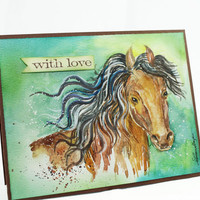 OOAK-Original Handpainted, Watercolor Card, Painting Horse, Art, Wild Horse, NOT A PRINT, With Love, For him, For Her, Greeting Card