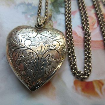 Vintage Long Sterling Silver Heart Locket Necklace Scroll and Flourish Engravings