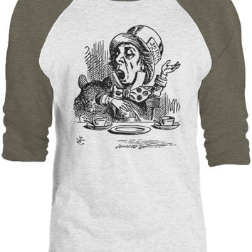 Big Texas Alice in Wonderland - Mad Hatter Engaging (Black) 3/4-Sleeve Raglan Baseball T-Shirt