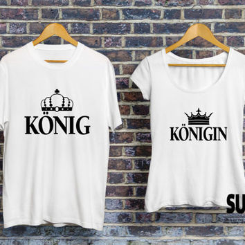 König Königin Pärchen T-shirt, KING and QUEEN set of t-shirts for couples, Pärchen-T-shirt, zusammenpassende Pärchen-T-shirt