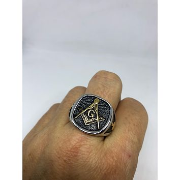 Vintage 1980's Gothic Silver Stainless Steel Free Mason G Men's Ring